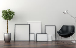 Set of picture frames on the floor - background Stock Images