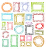 Set picture frames, hand drawn vector illustration. Royalty Free Stock Photos