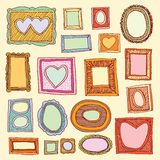 Set picture frames, hand drawn vector illustration. Stock Photography