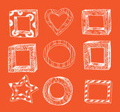 Set picture frames, hand drawn vector illustration. Stock Photos