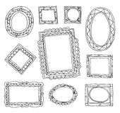 Set picture frames, hand drawn vector illustration. Royalty Free Stock Image