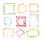 Set picture frames, hand drawn vector illustration. Royalty Free Stock Photo