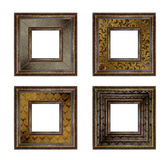 Set of picture gold wooden frame on isolated background Stock Photos
