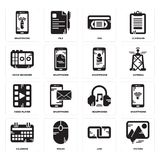 Set of Picture, Link, Calendar, Headphones, Video player, Smartphone, Voice recorder, Vhs, Smartphone icons. Set Of 16 simple  icons such as Picture, Link, Mouse Royalty Free Stock Photos