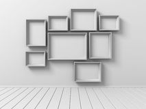 Set Of Picture Photo Frames On The Wall Royalty Free Stock Images
