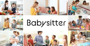 Set with pictures of adorable children and nannies stock photos