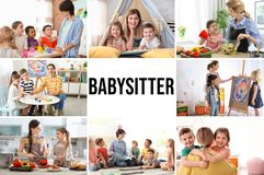 Set with pictures of adorable children and nannies stock photo