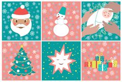 Set of pictures for advent calendar in green and pink colors. Winter holidays poster with cute Santa, star, baby, gifts and snowman. Vector EPS8 vector illustration