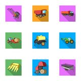 Set of pictures about agricultural machinery. Cars to robots to the ground.Agricultural Machinery icon in set collection Stock Photos