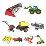 Set of pictures about agricultural machinery. Cars to robots to the ground.Agricultural Machinery icon in set collection Stock Photography