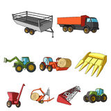 Set of pictures about agricultural machinery. Cars to robots to the ground.Agricultural Machinery icon in set collection Stock Image