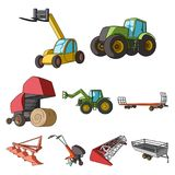 Set of pictures about agricultural machinery. Cars to robots to the ground.Agricultural Machinery icon in set collection Royalty Free Stock Photography