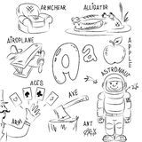 Set of pictures on Alphabet theme. Set of sketches in a cartoon style. In the set are collected words that begin with the letter A Stock Photography