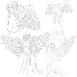 Set pictures of angels in a doodle style Stock Photo
