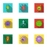 A set of pictures about bacteria and viruses. Germs that are harmful to humans. viruses and bacteria icon in set Stock Photo