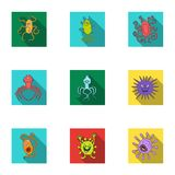 A set of pictures about bacteria and viruses. Germs that are harmful to humans. viruses and bacteria icon in set Royalty Free Stock Photos