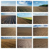 Set of pictures with black plowed agriculture fields. Collage for internet projects Royalty Free Stock Photo