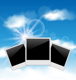 Set pictures on blue sky background Royalty Free Stock Photography