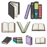 A set of pictures with books. Books, notebooks, studies. Books icon in set collection on cartoon style vector symbol. Stock web illustration Royalty Free Stock Photography