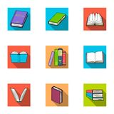 A set of pictures with books. Books, notebooks, studies. Books icon in set collection on flat style vector symbol stock. Web illustration Royalty Free Stock Images
