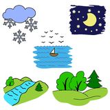 Set of pictures for children nature. Vector set of set of pictures for children nature Royalty Free Stock Photos