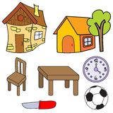 Set of pictures for children. Vector set of set of pictures for children Royalty Free Stock Images