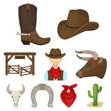 A set of pictures about cowboys. Cowboys on the ranch, horses, weapons, whips.Rodeo icon in set collection on cartoon Royalty Free Stock Photography