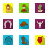 A set of pictures about cowboys. Cowboys on the ranch, horses, weapons, whips.Rodeo icon in set collection on flat style Stock Photos