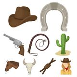 A set of pictures about cowboys. Cowboys on the ranch, horses, weapons, whips.Rodeo icon in set collection on cartoon Stock Photo