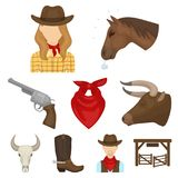 A set of pictures about cowboys.  Royalty Free Stock Images