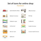 A set of pictures of different furniture sections Online Store Royalty Free Stock Images