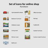 A set of pictures of different furniture sections Online Store Stock Images