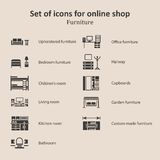 A set of pictures of different furniture sections Online Store Stock Image