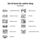 A set of pictures of different furniture sections Online Store Stock Photography