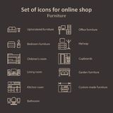 A set of pictures of different furniture sections Online Store Stock Photo