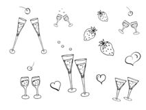 Doodle set for the design and decoration of celebrations and events, parties, invitations, postcards, stickers, logos stock illustration