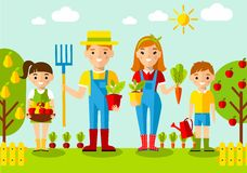 Set of pictures  gardener family, garden, mill and landscape with gardening concept Stock Image