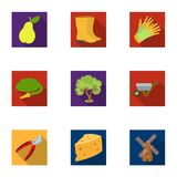 Set of pictures about gardening. Village, vegetable garden, garden, ecology.Farm and Gardening icon in set collection on Royalty Free Stock Image