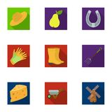 Set of pictures about gardening. Village, vegetable garden, garden, ecology.Farm and Gardening icon in set collection on Stock Photo