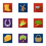 Set of pictures about gardening. Village, vegetable garden, garden, ecology.Farm and Gardening icon in set collection on Royalty Free Stock Images