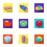 A set of pictures gifts. Gifts for different holidays, surprises. Gift packaging.Gifts and cert icon in set collection. On flat style vector symbol stock web Royalty Free Stock Image