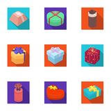 A set of pictures gifts. Gifts for different holidays, surprises. Gift packaging.Gifts and cert icon in set collection. On flat style vector symbol stock web Stock Images