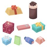 A set of pictures gifts. Gifts for different holidays, surprises. Gift packaging.Gifts and cert icon in set collection. On cartoon style vector symbol stock web Royalty Free Stock Images