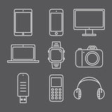 Set of pictures line gadgets Royalty Free Stock Image
