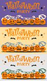 Set of pictures, postcards Halloween party with cartoon pumpkins, bats, stars.. Halloween posters or greeting cards with cartoon pumpkins, bat and stars Stock Photo