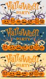 Set of pictures, postcards Halloween party with cartoon pumpkins, bats, witch hat, stars and trees. Vector illustration. Stock Photo