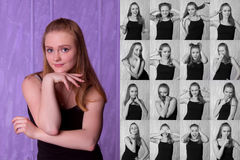 Set of pictures of pretty young woman with different gestures an. D emotions isolated on purple background Stock Images