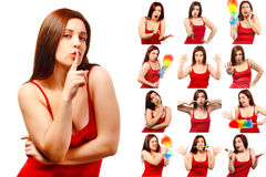 Set of pictures of pretty young woman with different gestures an. D emotions isolated on white background Stock Photos