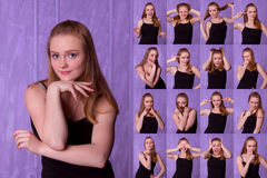 Set of pictures of pretty young woman with different gestures an. D emotions  on purple background Royalty Free Stock Image