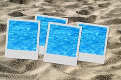 Set of pictures on sand Stock Photos